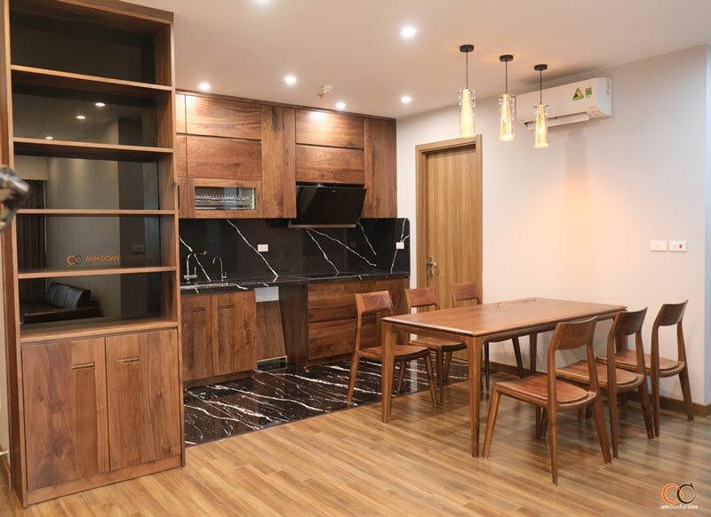 nội thất phòng bếp gỗ óc chó
