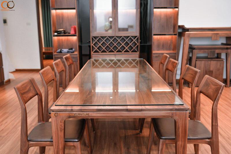 bàn ăn bằng gỗ óc chó