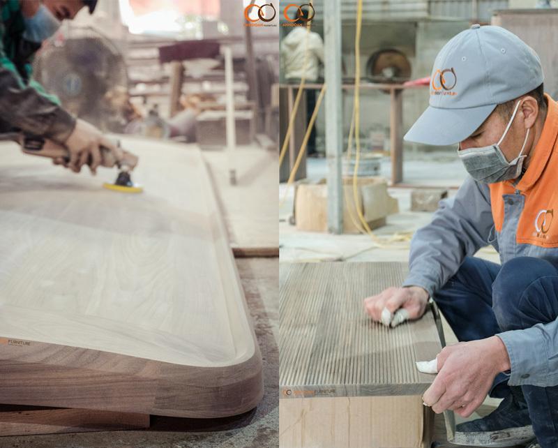 đánh nhám bề mặt gỗ óc chó