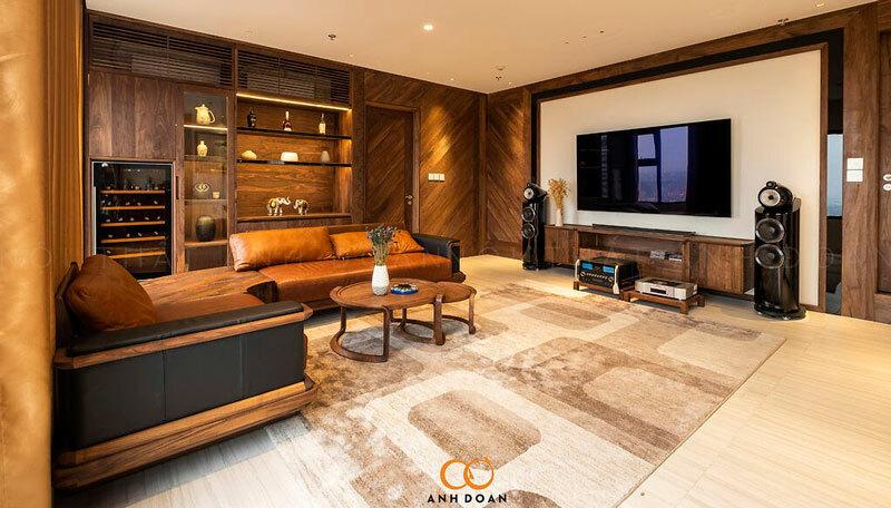 nội thất chung cư gỗ óc chó ocean park