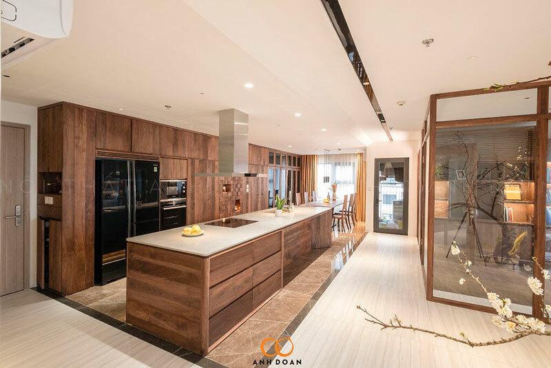 phòng bếp gỗ chung cư ocean park