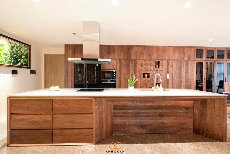bàn bếp gỗ óc chó