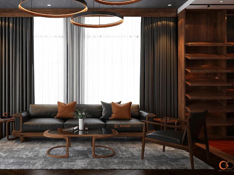 Bộ bàn ghế gỗ tự nhiên kết hợp cùng chất liệu da