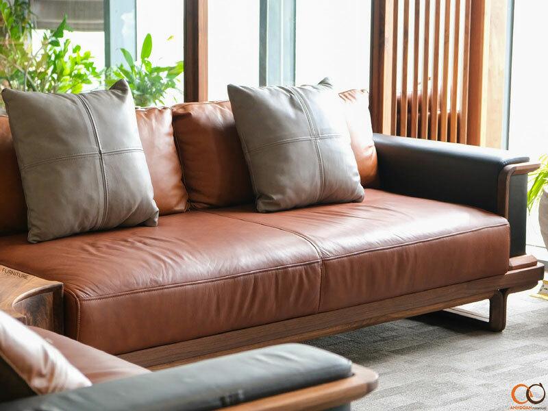 sofa bằng gỗ óc chó