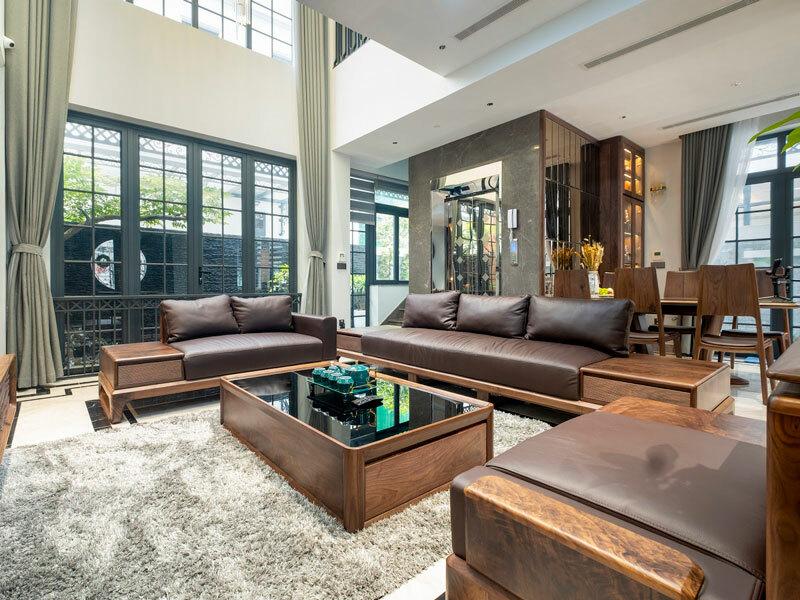nội thất phòng khách bằng gỗ óc chó