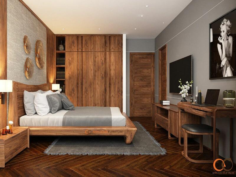 mẫu nội thất phòng ngủ bằng gỗ óc chó