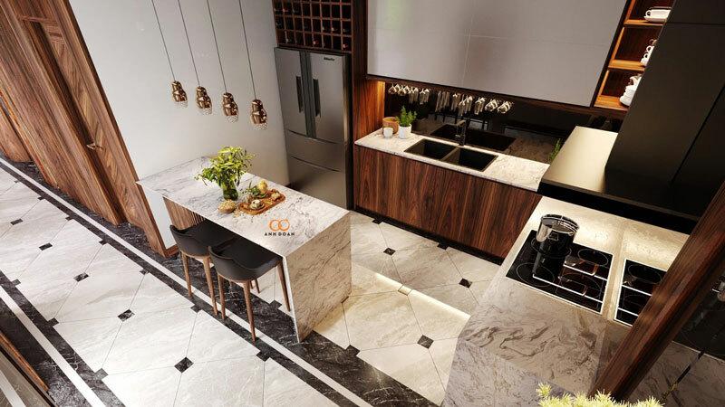mẫu nội thất tủ rượu bằng gỗ óc chó