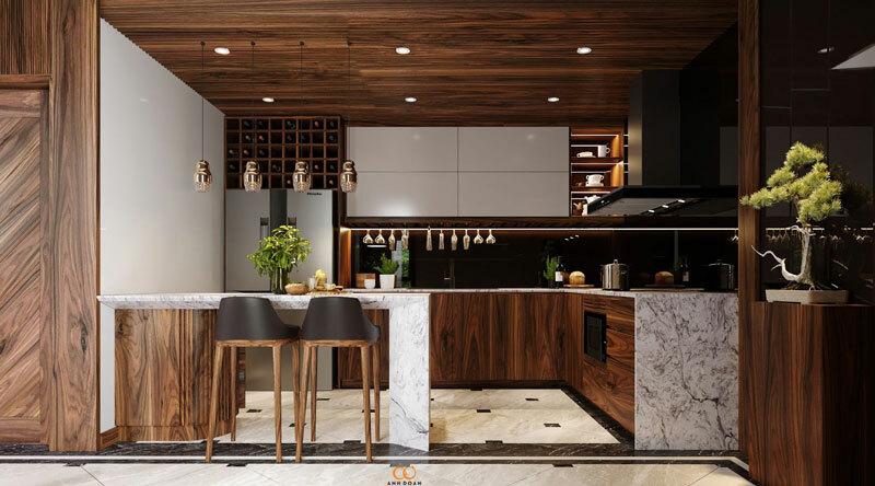 mẫu nội thất phòng bếp gỗ óc chó