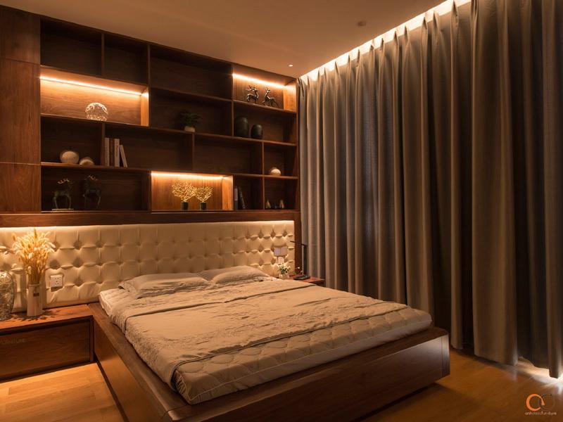 mẫu nội thất phòng ngủ gỗ óc chó Thẻ Manor