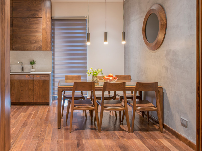 mẫu bàn bếp bằng gỗ óc chó The Manor