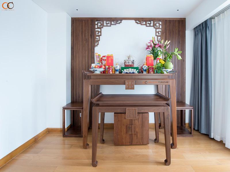mẫu bàn thờ bằng gỗ óc chó
