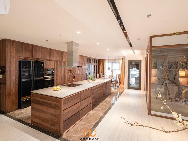 mẫu nội thất phòng bếp gỗ óc chó ocean park