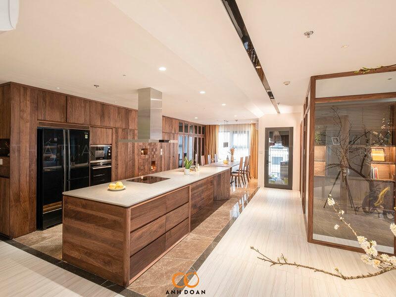 phòng bếp gỗ óc chó cao cấp