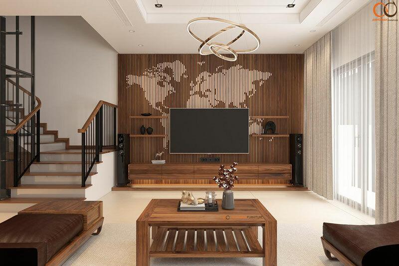 mẫu nội thất phòng khách gỗ cao cấp