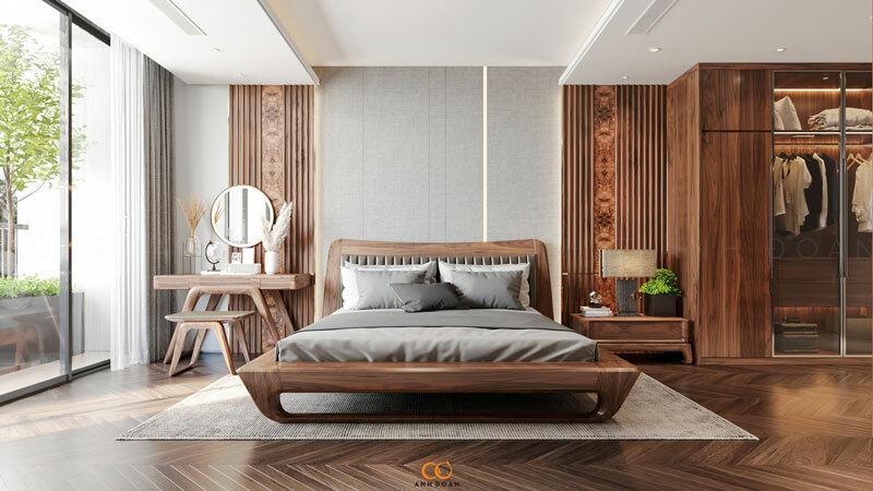 phòng ngủ gỗ óc chó
