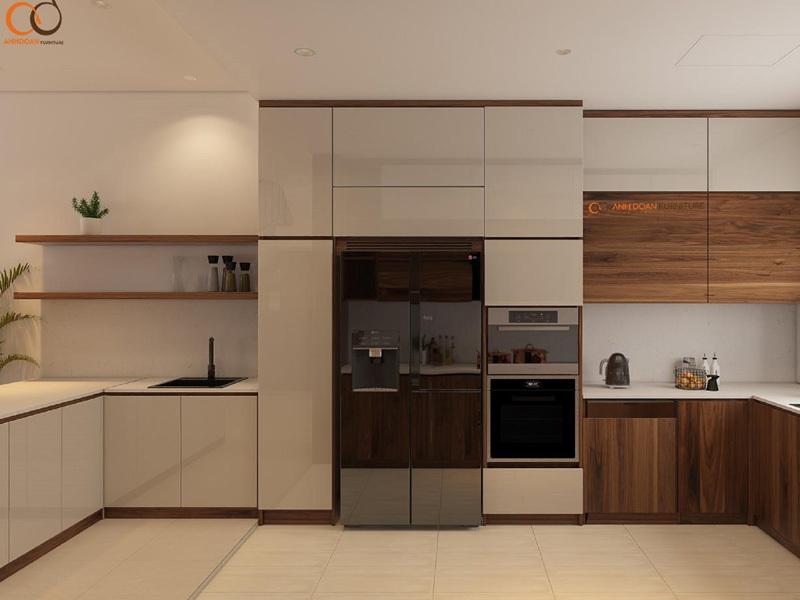 gạch ốp bếp tương đồng với màu gỗ