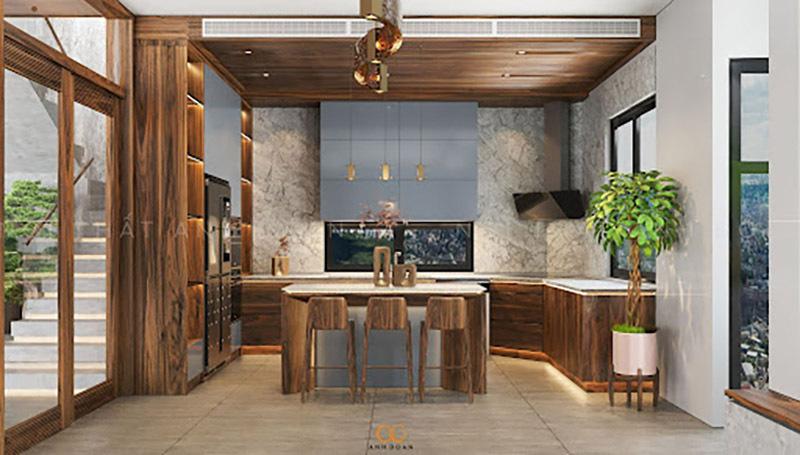 Nội thất phòng bếp gỗ óc chó Bắc Mỹ