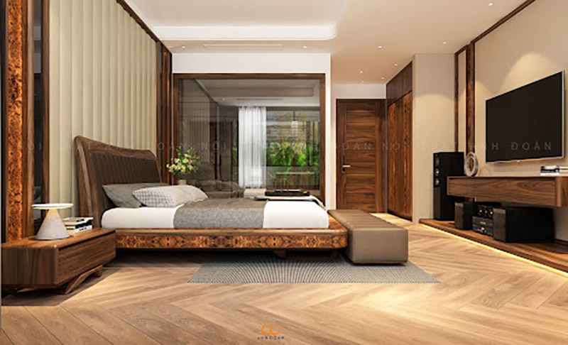 Kích thước giường ngủ gỗ óc chó