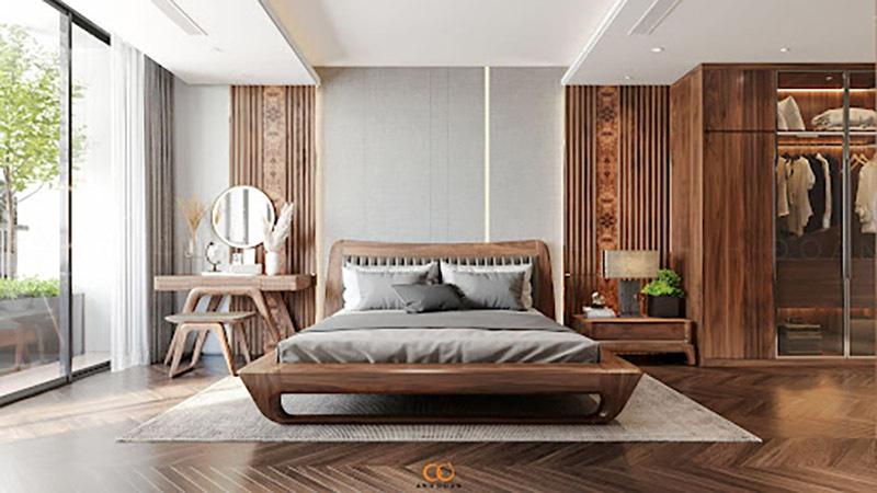 Chọn giường ngủ gỗ óc chó phù hợp với phong cách thiết kế