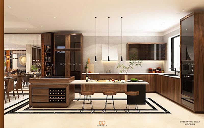 Nội thất gỗ óc chó phòng bếp