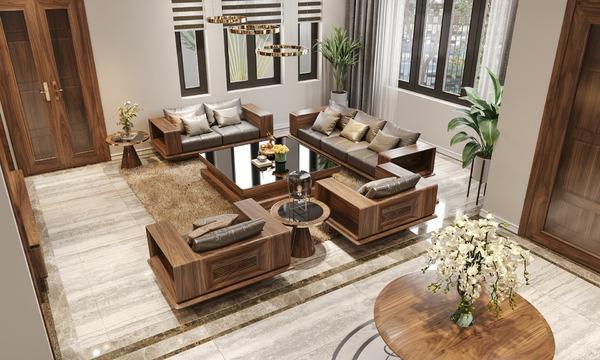 Sofa gỗ Óc Chó AD07